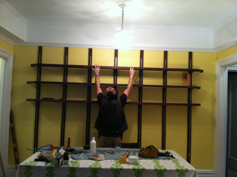 Custom Walnut Dining Room Bookshelves